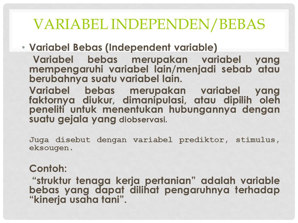 Variabel independen/bebas