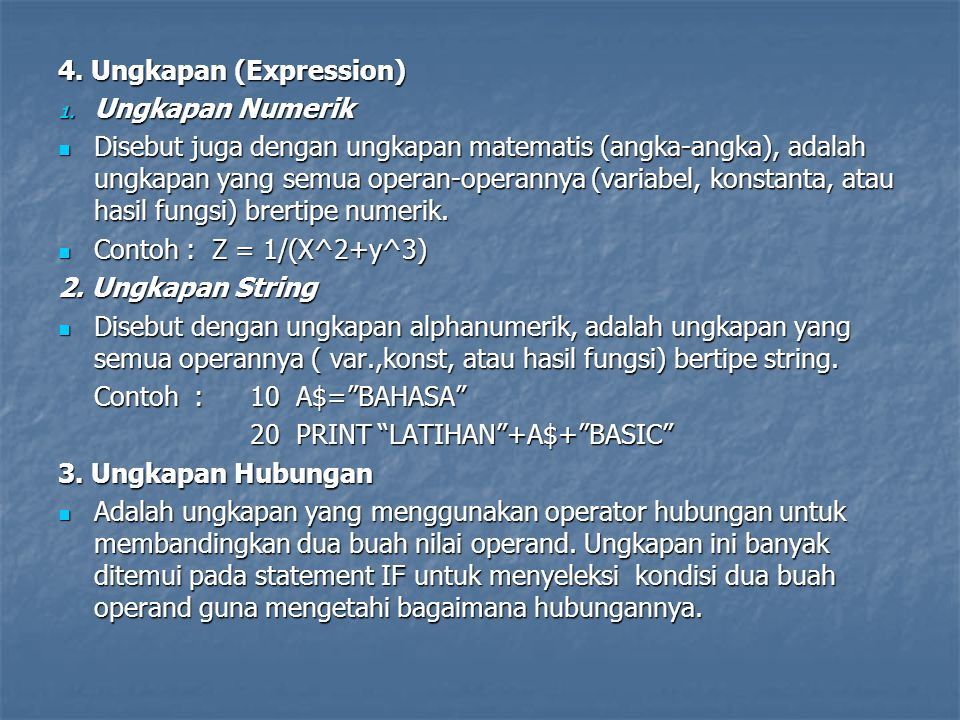 4. Ungkapan (Expression)