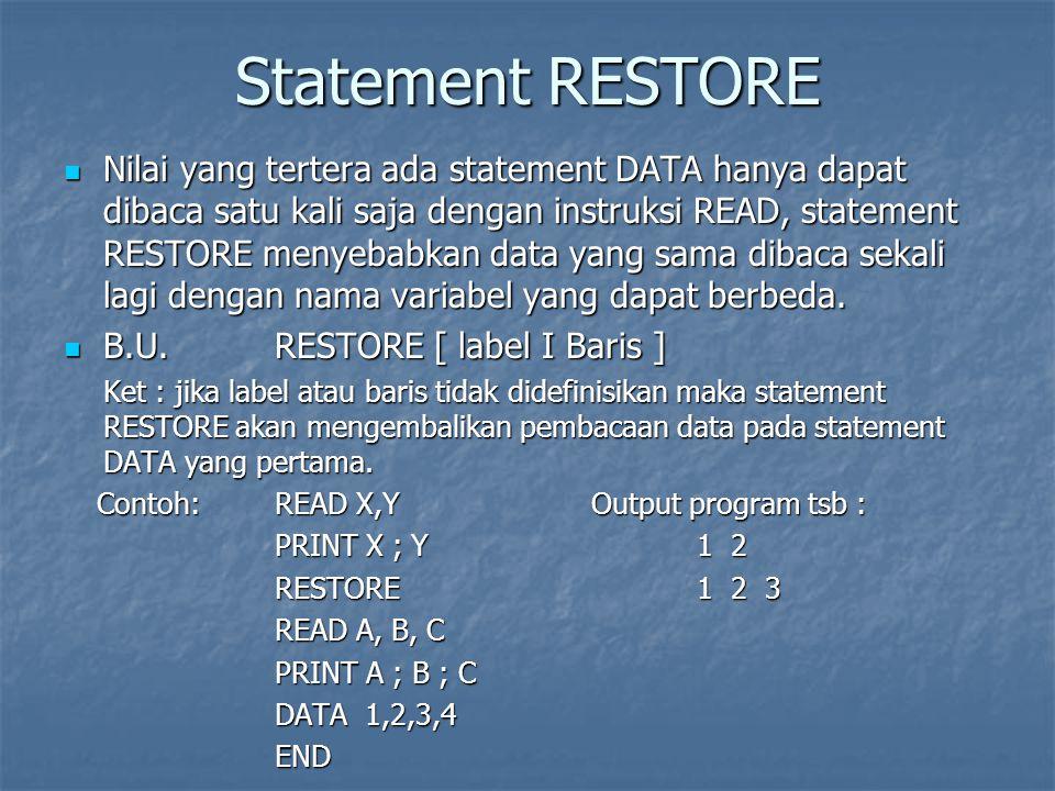Statement RESTORE