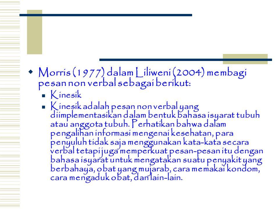 Morris (1977) dalam Liliweni (2004) membagi pesan non verbal sebagai berikut: