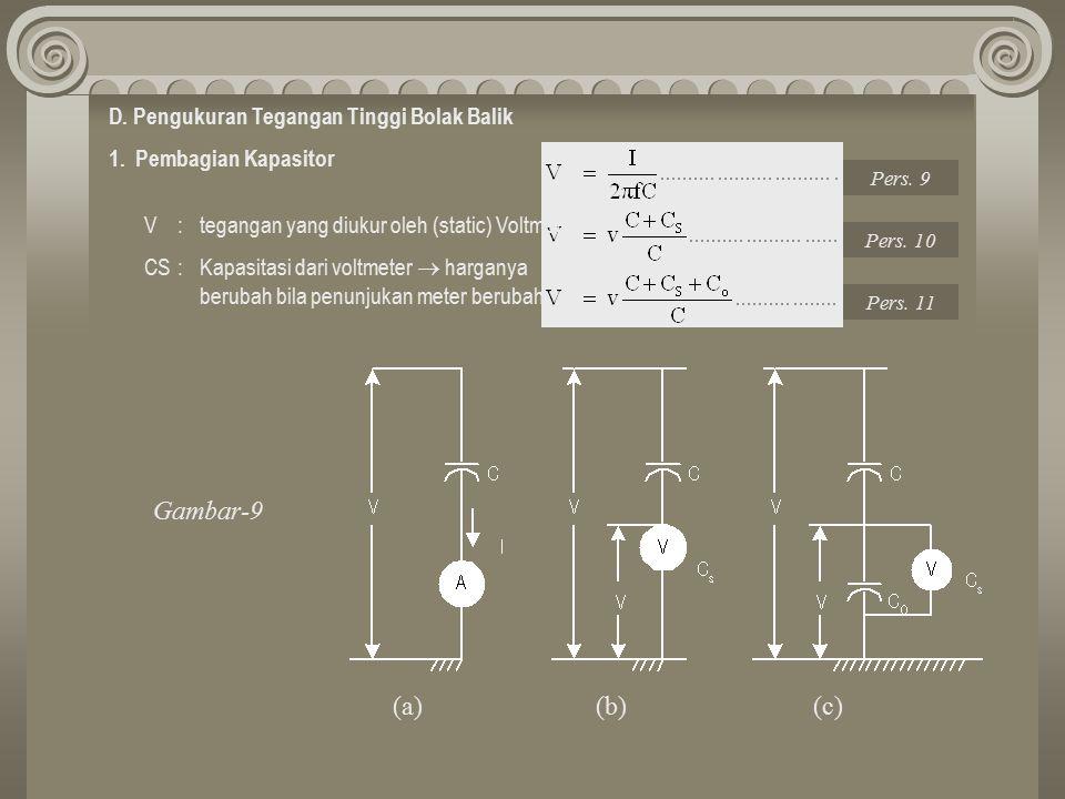 Gambar-9 (a) (b) (c) D. Pengukuran Tegangan Tinggi Bolak Balik