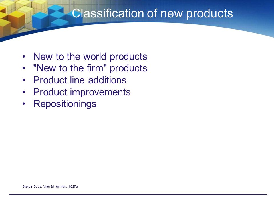 Classification of new products