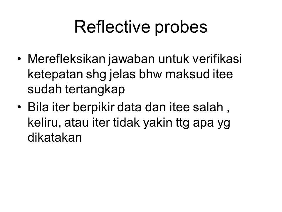 Reflective probes Merefleksikan jawaban untuk verifikasi ketepatan shg jelas bhw maksud itee sudah tertangkap.