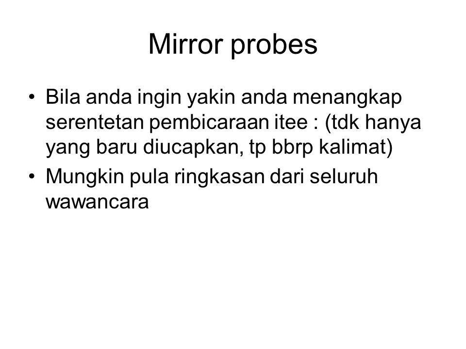 Mirror probes Bila anda ingin yakin anda menangkap serentetan pembicaraan itee : (tdk hanya yang baru diucapkan, tp bbrp kalimat)