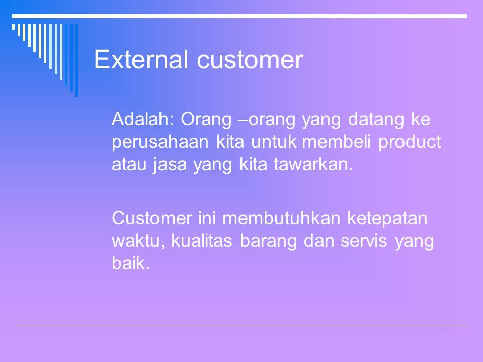 External customer Adalah: Orang –orang yang datang ke perusahaan kita untuk membeli product atau jasa yang kita tawarkan.