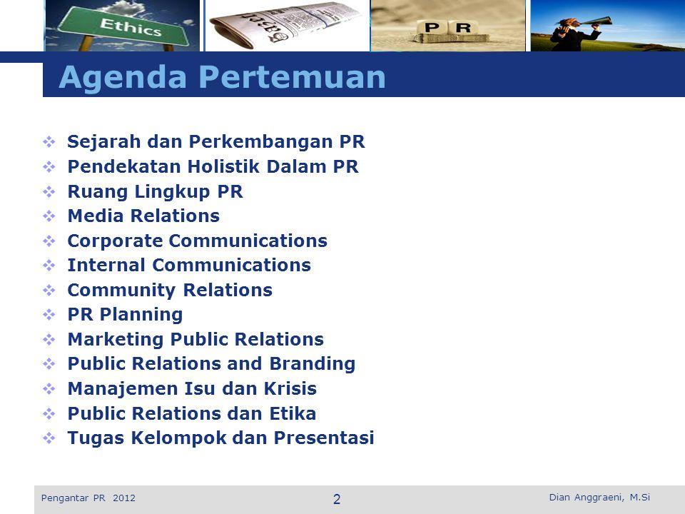 Agenda Pertemuan Sejarah dan Perkembangan PR