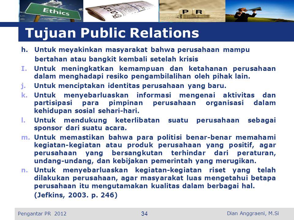 Tujuan Public Relations