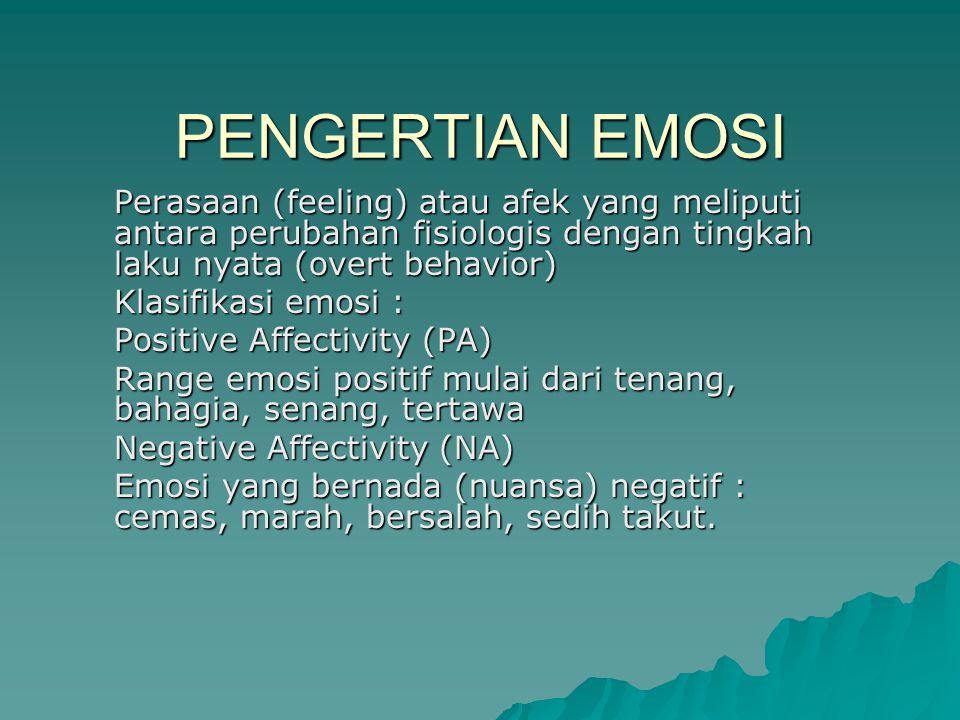 PENGERTIAN EMOSI Perasaan (feeling) atau afek yang meliputi antara perubahan fisiologis dengan tingkah laku nyata (overt behavior)