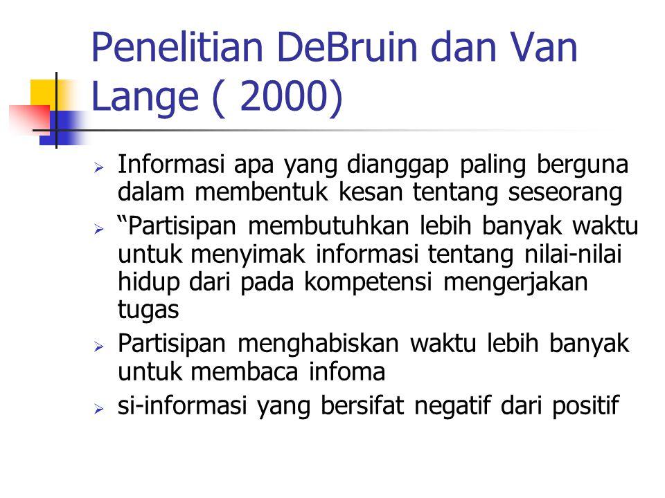 Penelitian DeBruin dan Van Lange ( 2000)