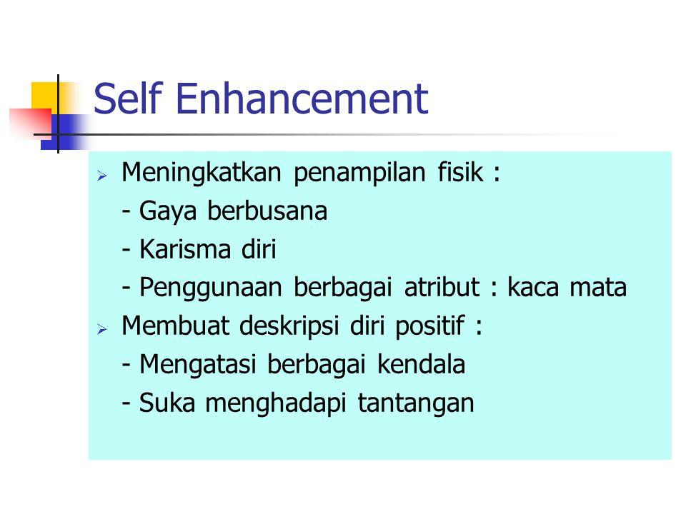 Self Enhancement Meningkatkan penampilan fisik : - Gaya berbusana