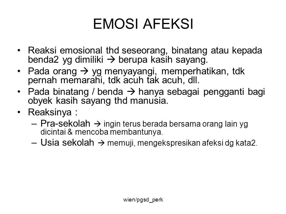 EMOSI AFEKSI Reaksi emosional thd seseorang, binatang atau kepada benda2 yg dimiliki  berupa kasih sayang.