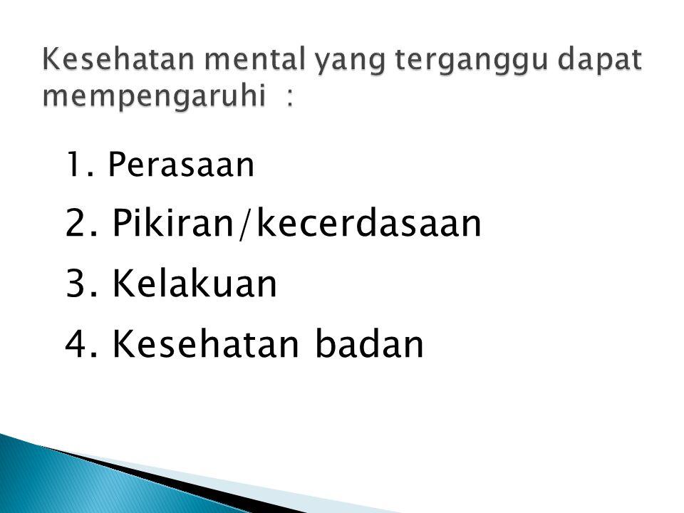 Kesehatan mental yang terganggu dapat mempengaruhi :