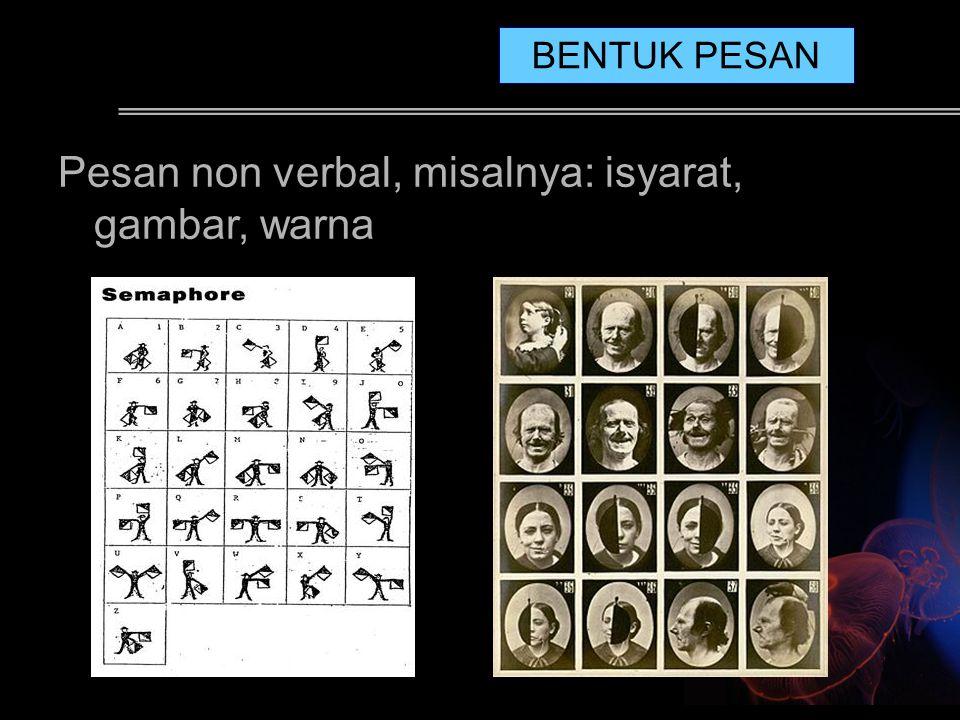 Pesan non verbal, misalnya: isyarat, gambar, warna