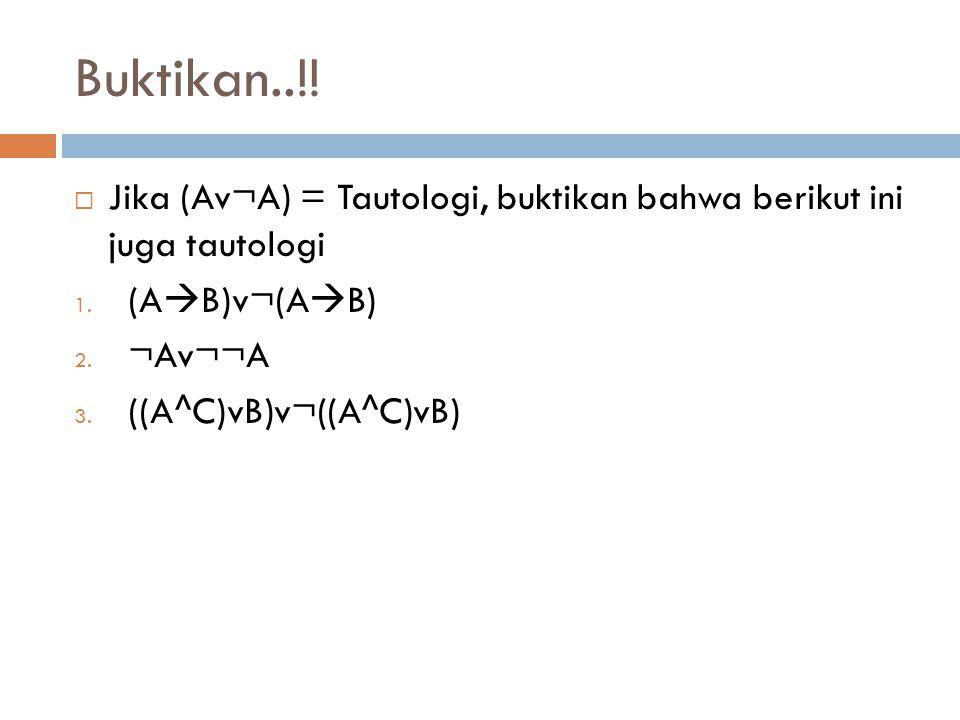 Buktikan..!! Jika (Av¬A) = Tautologi, buktikan bahwa berikut ini juga tautologi. (AB)v¬(AB) ¬Av¬¬A.