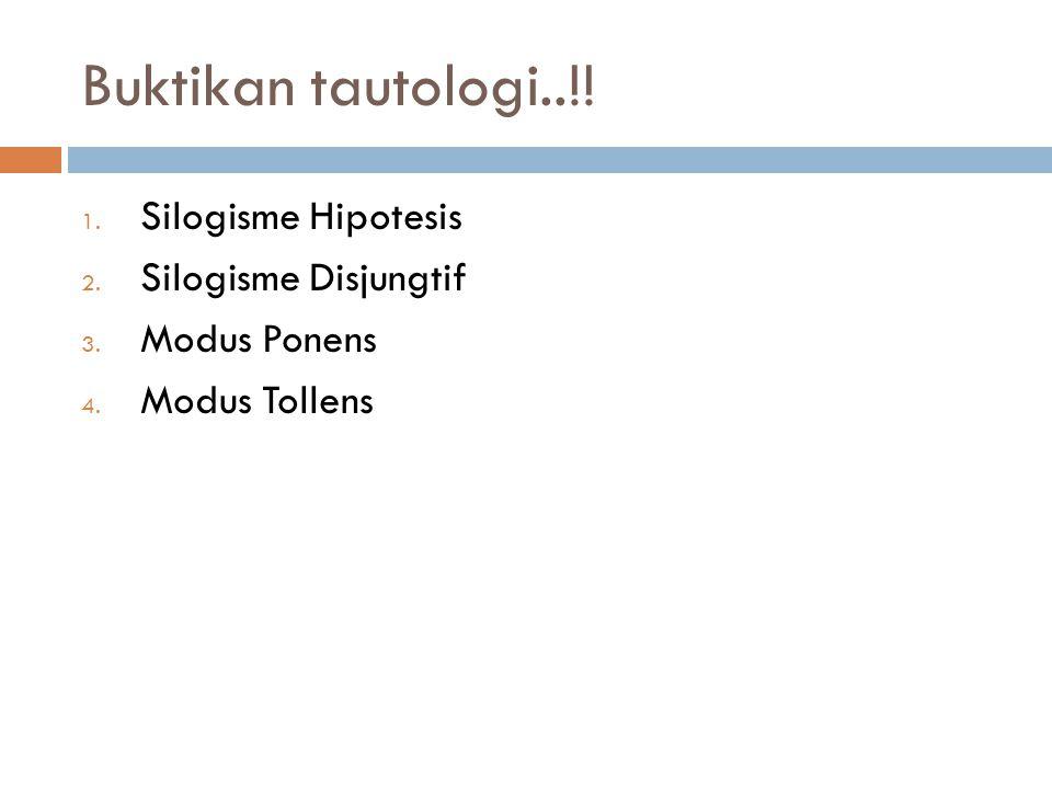 Buktikan tautologi..!! Silogisme Hipotesis Silogisme Disjungtif
