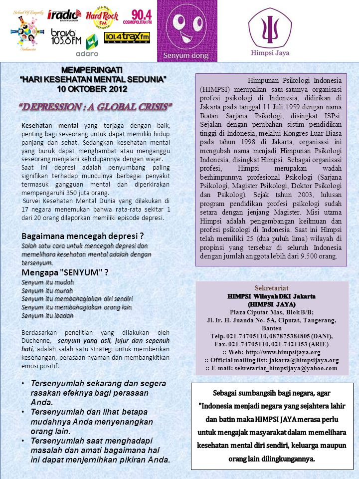DEPRESSION : A GLOBAL CRISIS HIMPSI Wilayah DKI Jakarta