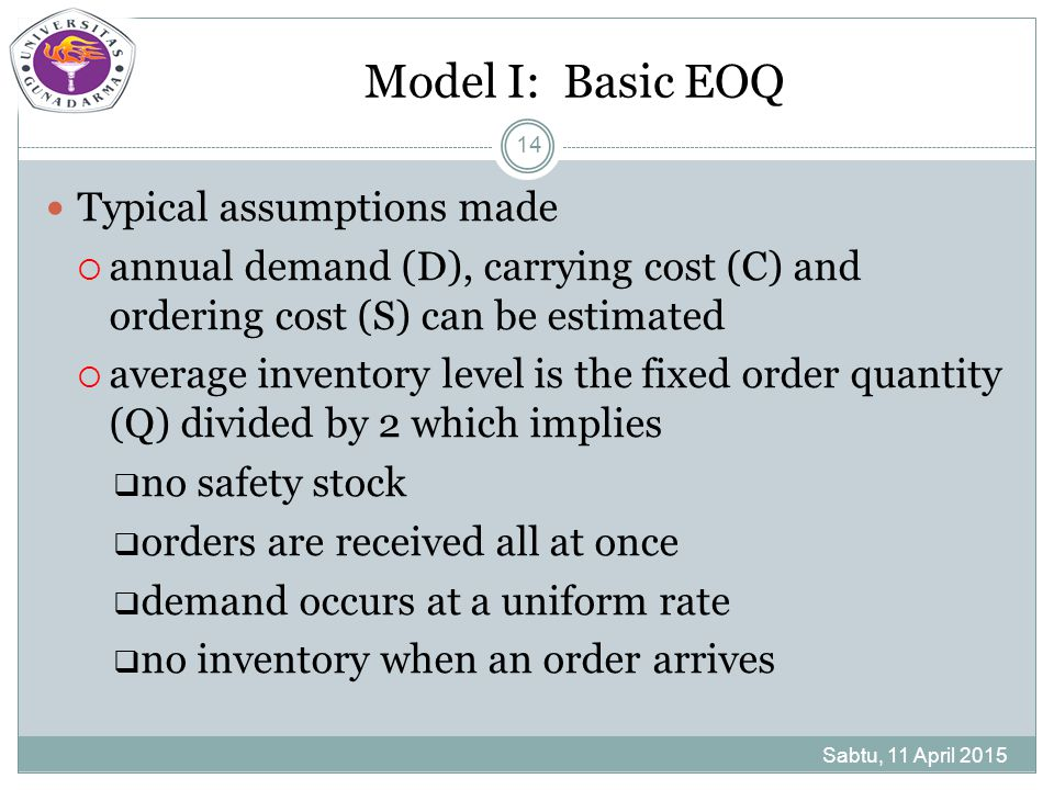 Model I: Basic EOQ Typical assumptions made