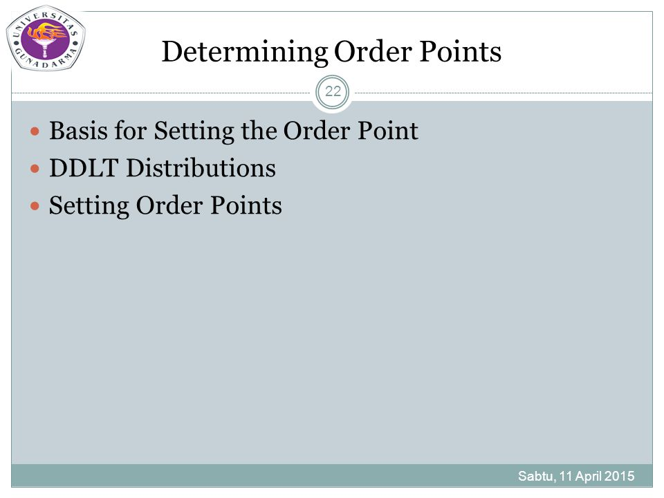 Determining Order Points