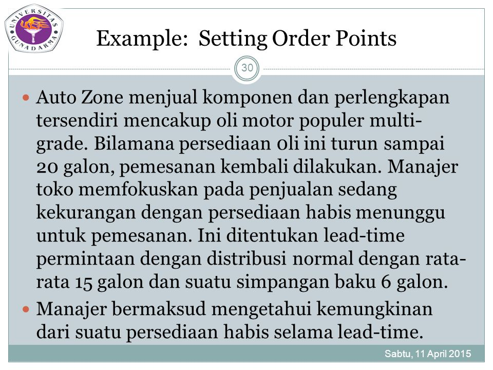 Example: Setting Order Points