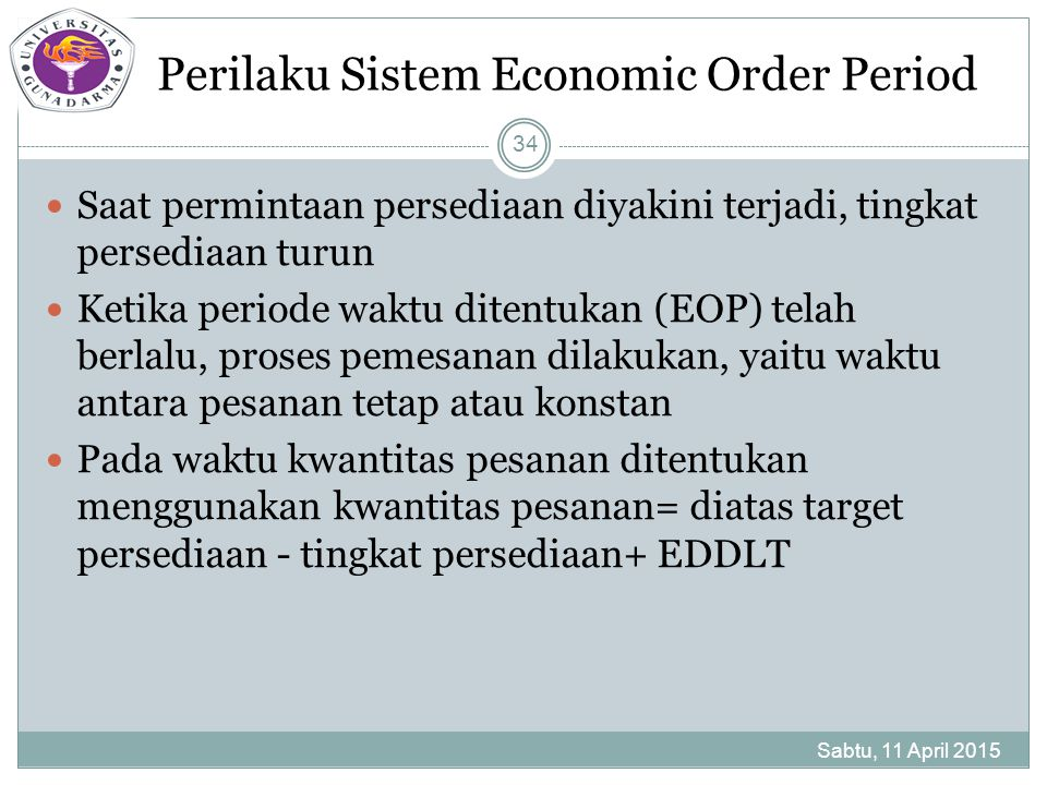 Perilaku Sistem Economic Order Period