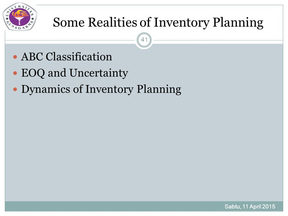 Some Realities of Inventory Planning