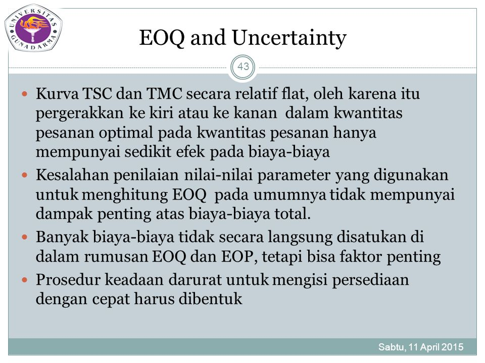 EOQ and Uncertainty