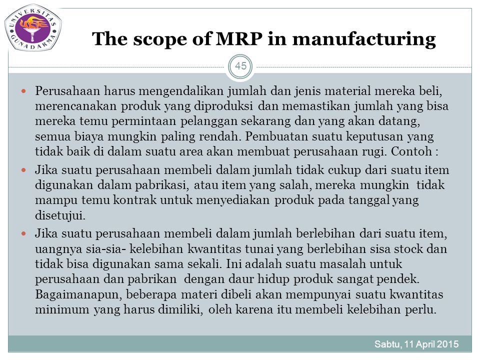 The scope of MRP in manufacturing