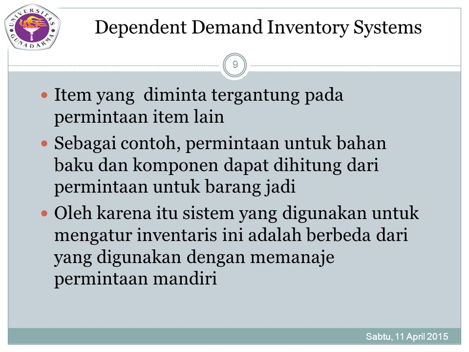 Dependent Demand Inventory Systems