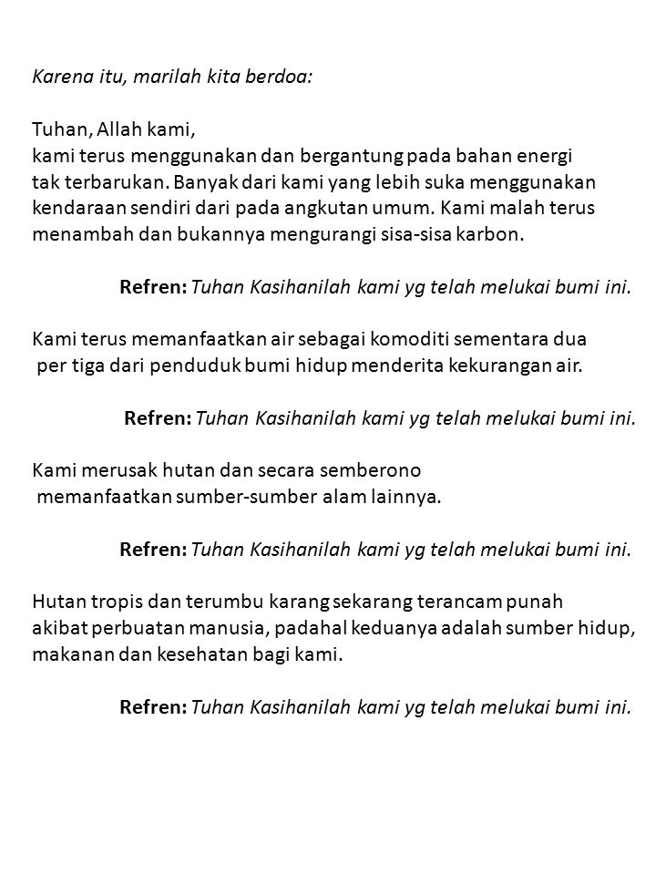 Karena itu, marilah kita berdoa: