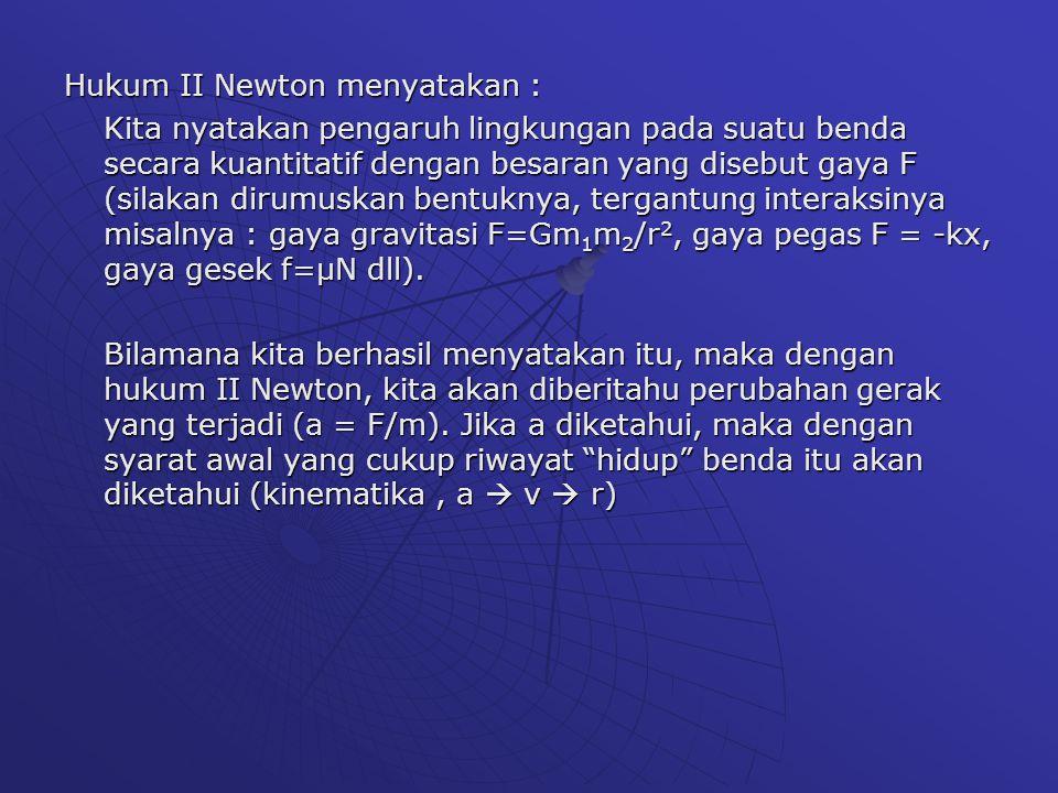 Hukum II Newton menyatakan :