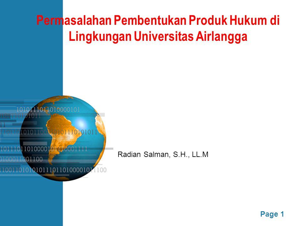 Permasalahan Pembentukan Produk Hukum di Lingkungan Universitas Airlangga