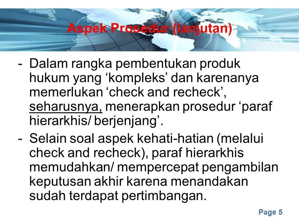 Aspek Prosedur (lanjutan)