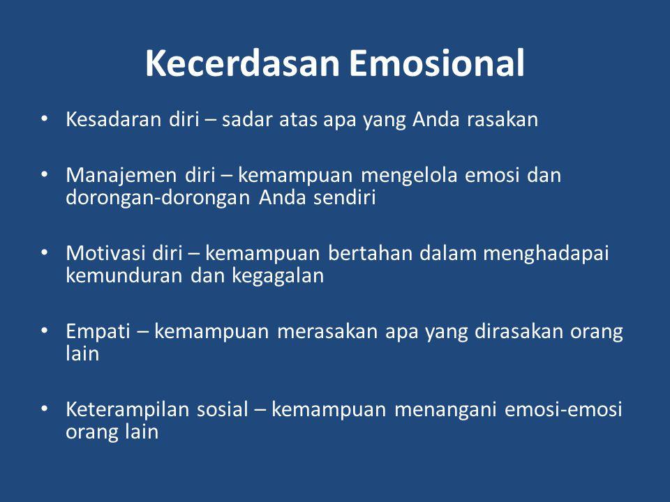 Kecerdasan Emosional Kesadaran diri – sadar atas apa yang Anda rasakan