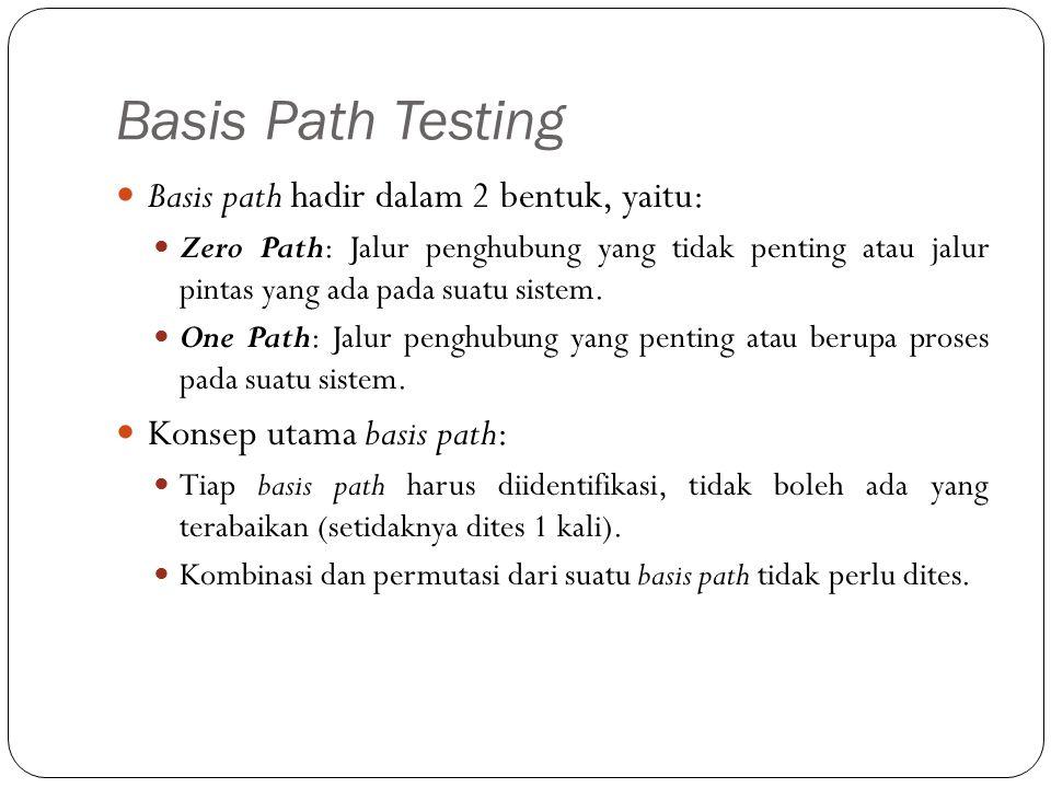 Basis Path Testing Basis path hadir dalam 2 bentuk, yaitu: