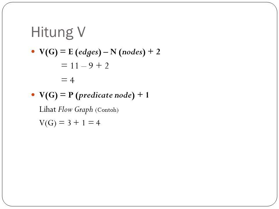 Hitung V = 11 – 9 + 2 = 4 Lihat Flow Graph (Contoh)