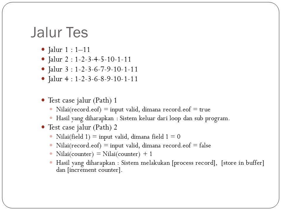 Jalur Tes Jalur 1 : 1–11 Jalur 2 : 1-2-3-4-5-10-1-11