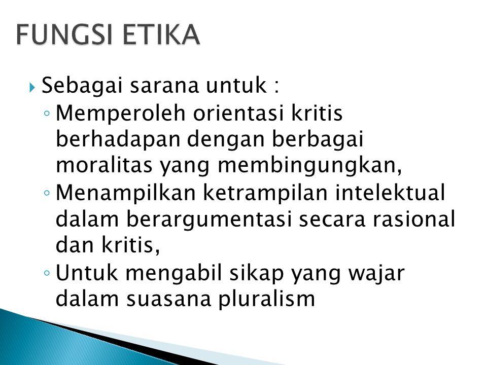 FUNGSI ETIKA Sebagai sarana untuk :