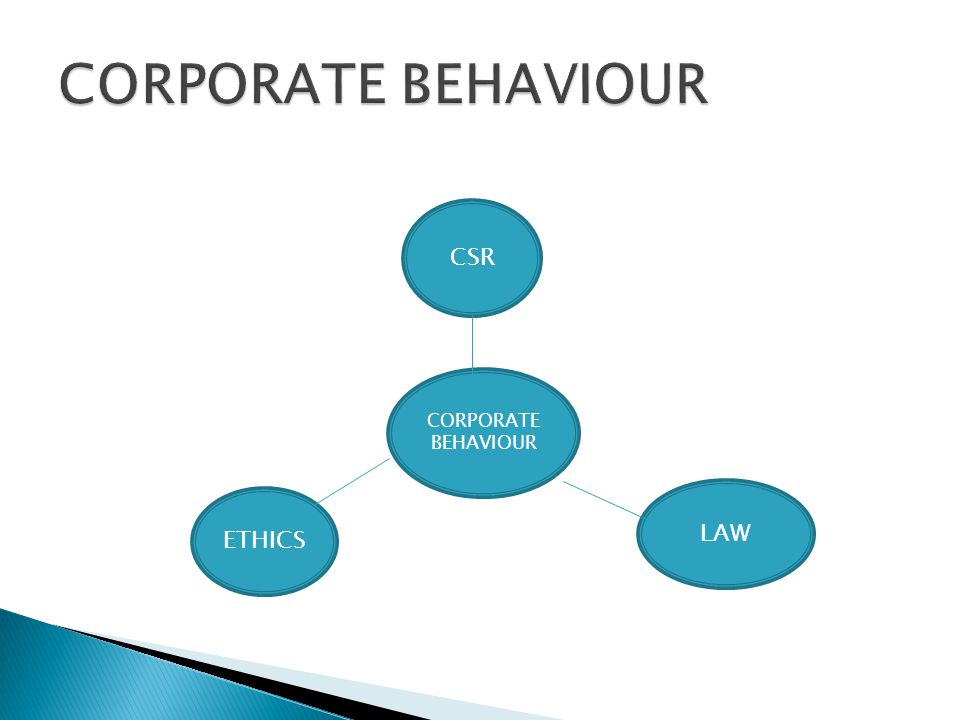 CORPORATE BEHAVIOUR CSR CORPORATE BEHAVIOUR LAW ETHICS