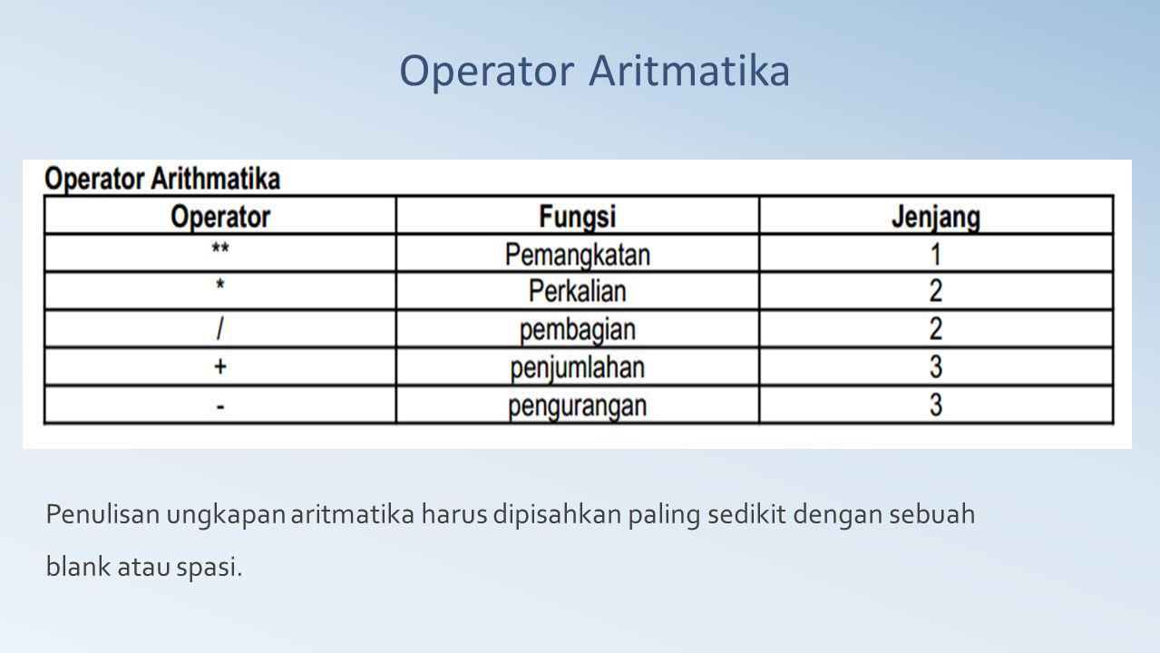 Operator Aritmatika Penulisan ungkapan aritmatika harus dipisahkan paling sedikit dengan sebuah.