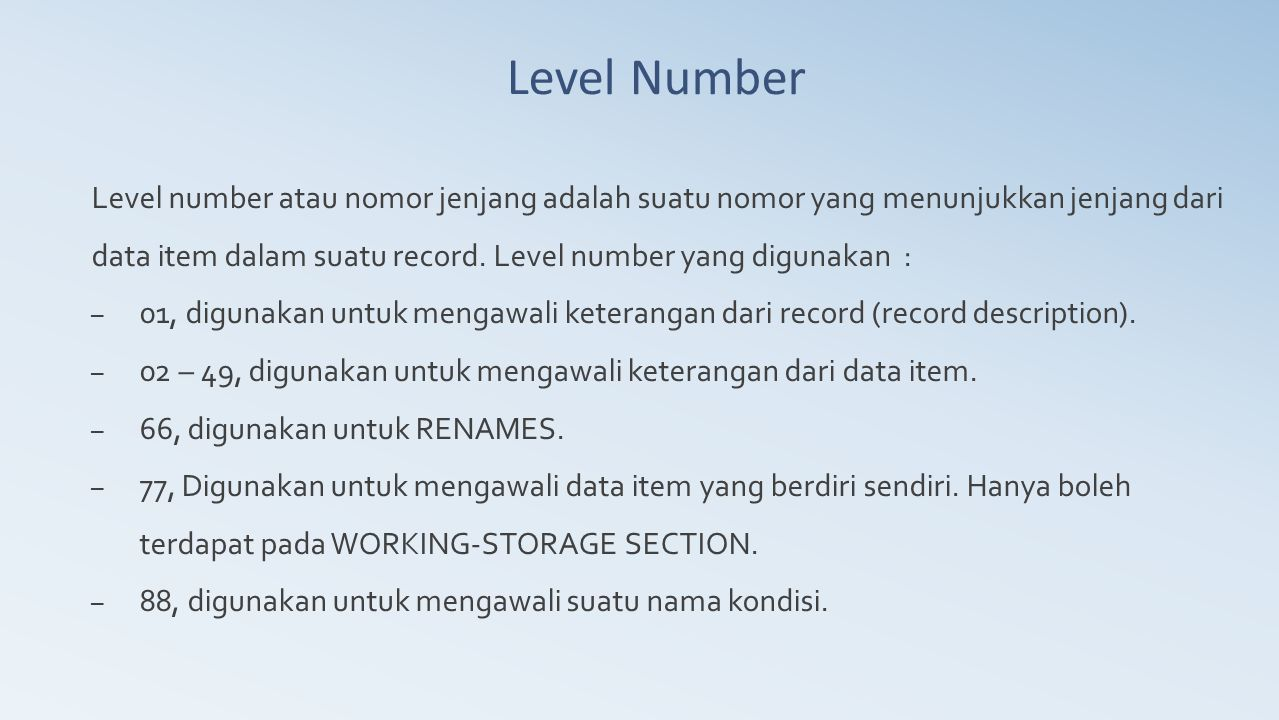 Level Number