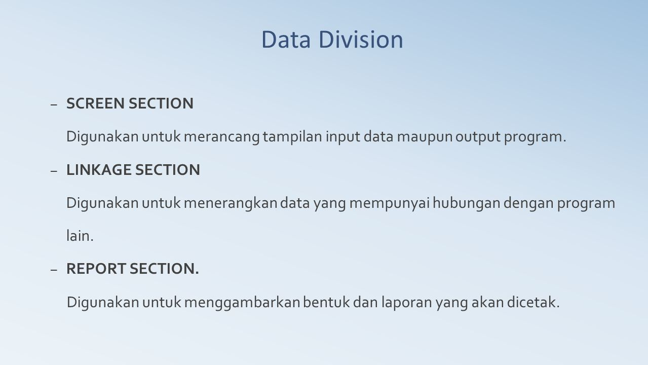 Data Division SCREEN SECTION
