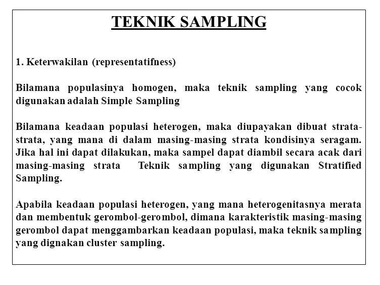 TEKNIK SAMPLING 1. Keterwakilan (representatifness)