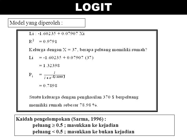 LOGIT Model yang diperoleh : Kaidah pengelompokan (Sarma, 1996) :