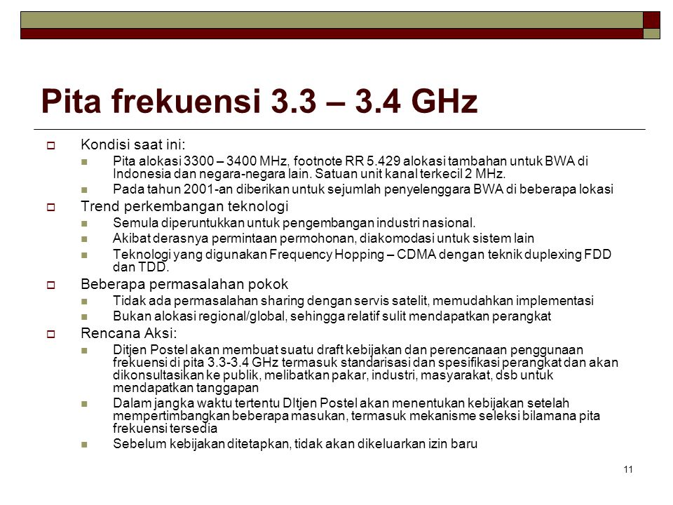 Pita frekuensi 3.3 – 3.4 GHz Kondisi saat ini: