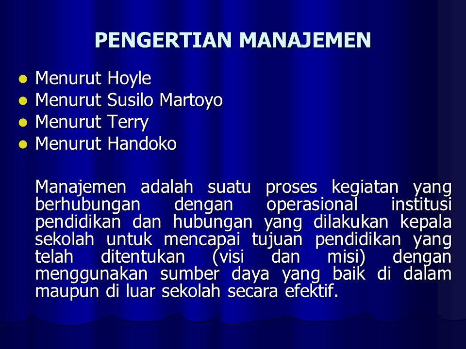 PENGERTIAN MANAJEMEN Menurut Hoyle Menurut Susilo Martoyo