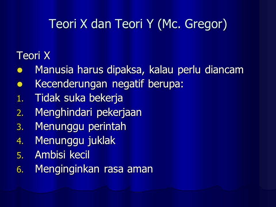 Teori X dan Teori Y (Mc. Gregor)