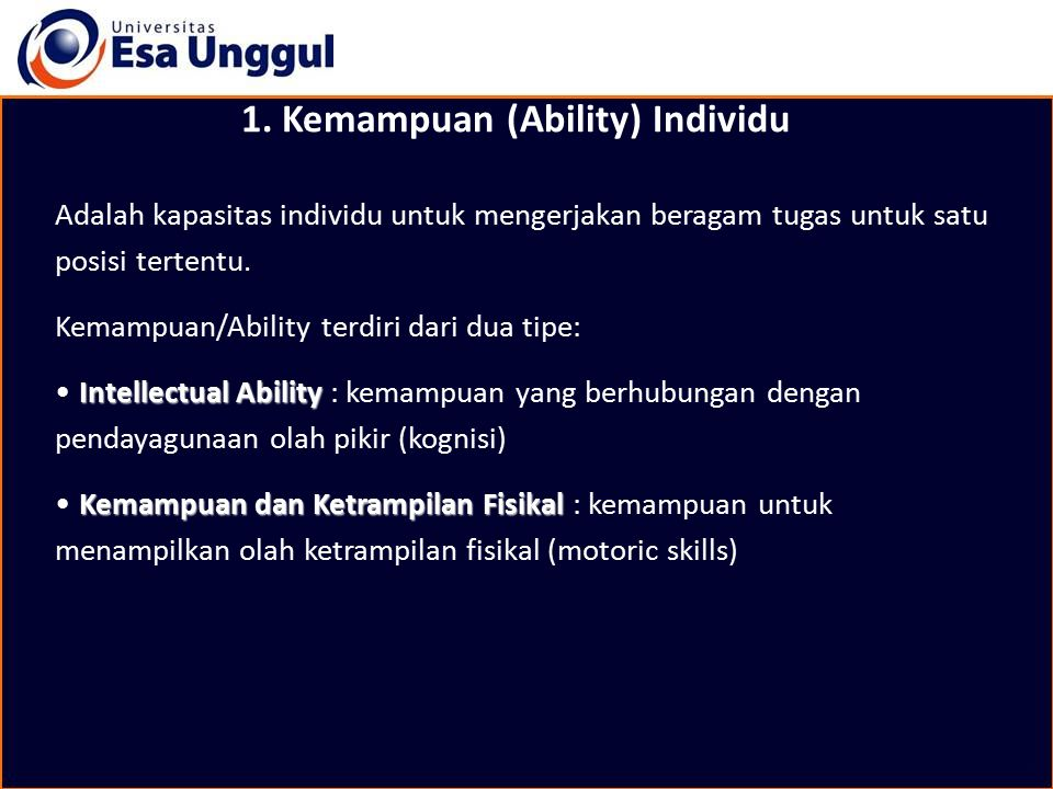1. Kemampuan (Ability) Individu