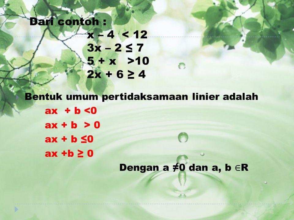Dari contoh : x – 4 < 12 3x – 2 ≤ 7 5 + x >10 2x + 6 ≥ 4