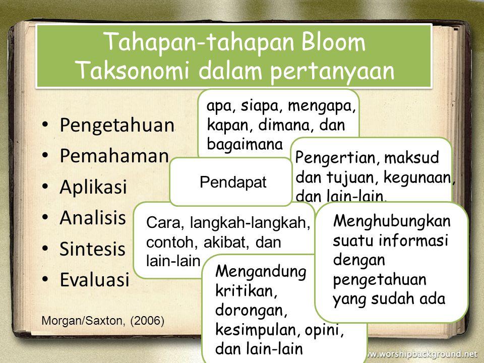 Tahapan-tahapan Bloom Taksonomi dalam pertanyaan