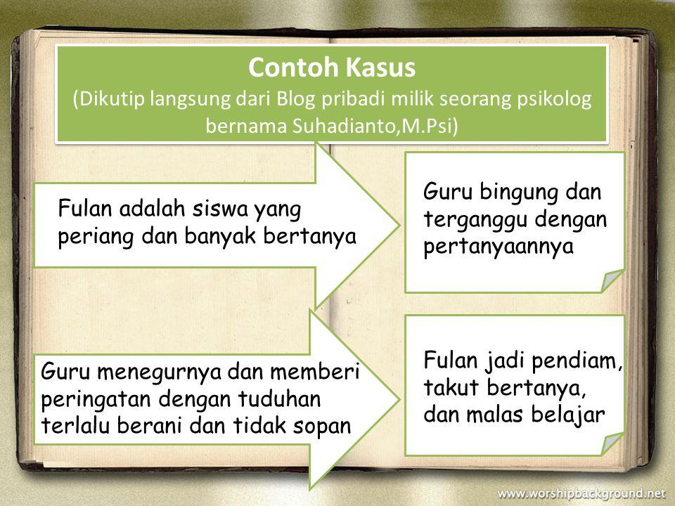Contoh Kasus (Dikutip langsung dari Blog pribadi milik seorang psikolog bernama Suhadianto,M.Psi)